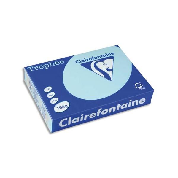 CLAIREFONTAINE Ramette de 250 feuilles papier couleur TROPHEE 160g A4 bleu alizé