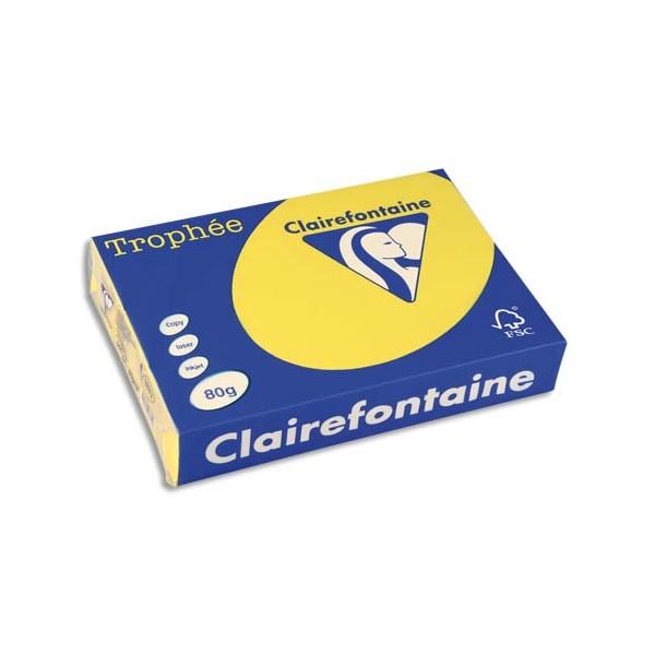 CLAIREFONTAINE Ramette de 500 feuilles papier couleur TROPHEE 80g A4 jaune soleil