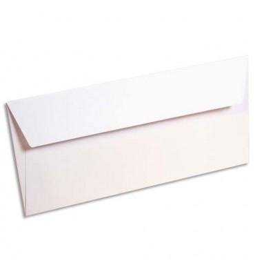 CLAIREFONTAINE Paquet de 20 enveloppes 120g POLLEN 11 x 22 cm (DL). Coloris blanc