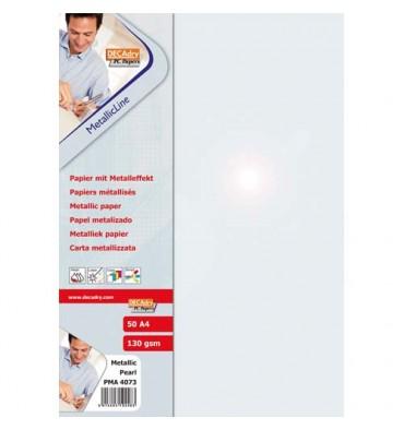 DECADRY Pochette 20 feuilles format A4 130g gris perle métallisé