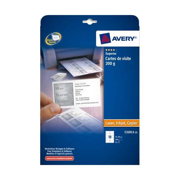 AVERY Pochette de 250 cartes de visite 8,5 x 5,4 cm 200g Quick & Clean multifonctions finition mate