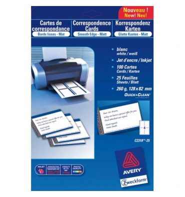 AVERY Pochette de 80 cartes de visite (8,5 x 54 cm) 260g Quick & Clean jet d'encre mat qualité supérieure