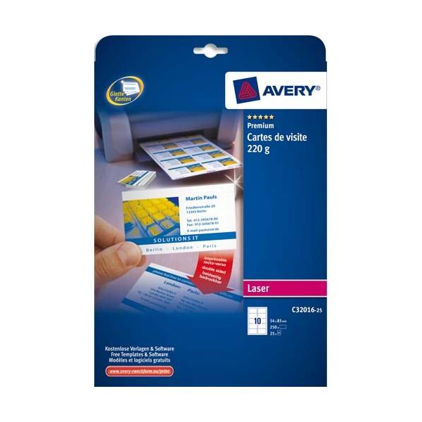 AVERY Pochette de 100 cartes de visite 8,5 x 5,4 cm 220g Quick & Clean laser couleur & monochrome finition mate