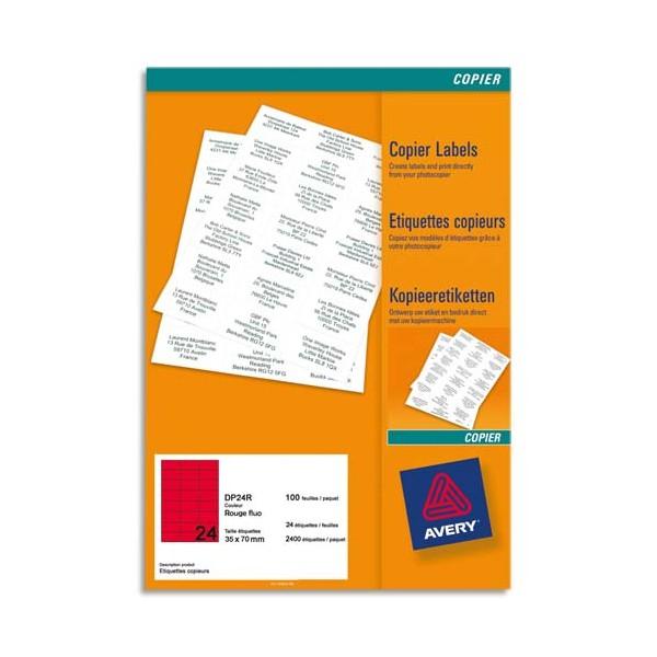 AVERY Boîte de 2400 étiquettes copieur 70 x 35 mm rouge fluo DP24R-100