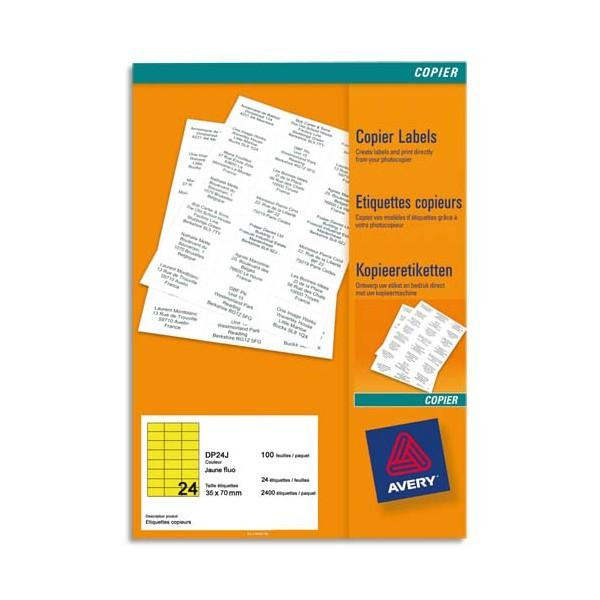 AVERY Boîte de 2400 étiquettes copieur 70 x 35 mm jaune fluo DP24J-100