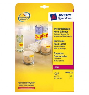 AVERY Boîte de 25 étiquettes laser rectangulaires enlevable 21 x 29,7 cm coloris jaune fluo L6006-25
