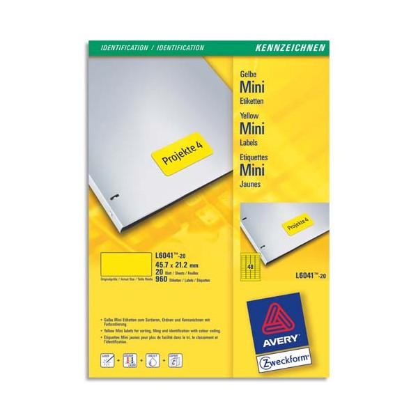 AVERY Boîte de 960 étiquettes laser 45,7 x 21,2 mm jaune L6041-20