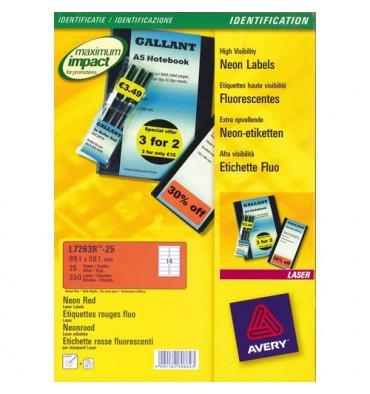AVERY 480 étiquettes enlevable rouge 63,5 x 33,9 mm L6034-20