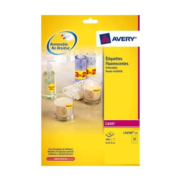 AVERY Boîte de 300 étiquettes laser jaune fluo diamètre 63,5 mm L7670Y-25