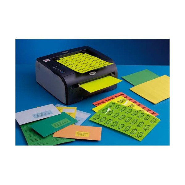 TECHMAY LOGETIQ Boîte de 400 étiquettes couleur 105 x 148,5 mm vert vif sur format A4