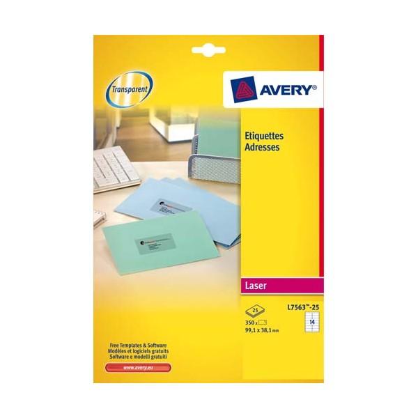 AVERY Pochette de 350 étiquettes laser invisible 99,1 x 38,1 mm L7563-25