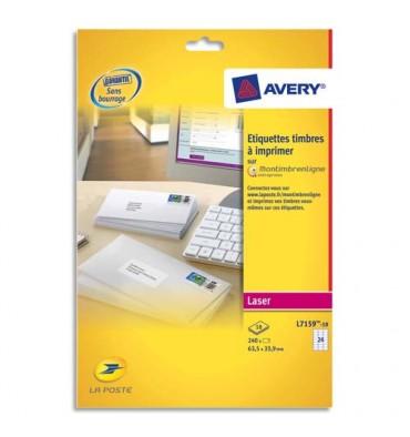 AVERY Pochette de 240 étiquettes laser blanc 63,5 x 33,9 mm blanc (spéciales mon timbre en ligne)