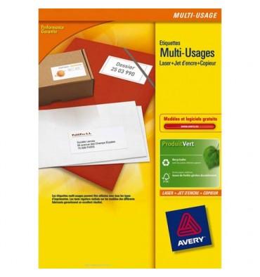 AVERY Boîte de 200 étiquettes blanches multi-usages 210 x 148 mm - pour laser, jet d'encre et copieur