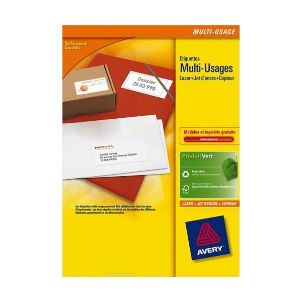 AVERY Boîte de 1600 étiquettes blanches multi-usages 105 x 35 mm - pour laser. jet d'encre et copieur