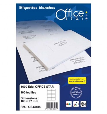 OFFICE STAR Boîte de 2400 étiquettes multi-usages blanches 70 x 36 mm OS43475
