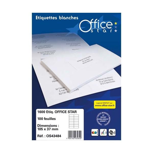 OFFICE STAR Boîte de 1600 étiquettes multi-usages blanches 105 x 35 mm OS43423