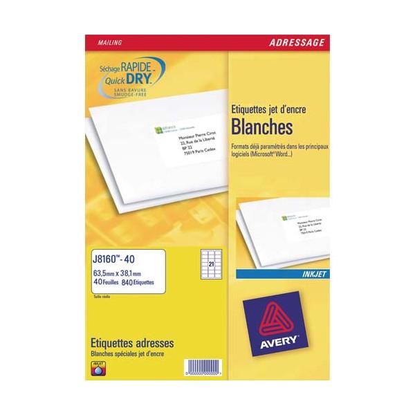AVERY Boîte de 2100 étiquettes jet d'encre format 63,5 x 38,1 mm J8160