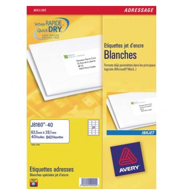 AVERY Boîte de 1400 étiquettes jet d'encre format 99,1 x 38,1 mm J8163*