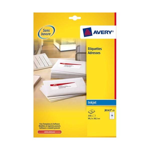 AVERY Boîte de 350 étiquettes adresses jet d'encre 99,1 x 38,1 mm blanches J8163-25