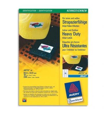 AVERY Boîte de 240 étiquettes ultra résistantes jet d'encre format 63,5 x 33,9 mm