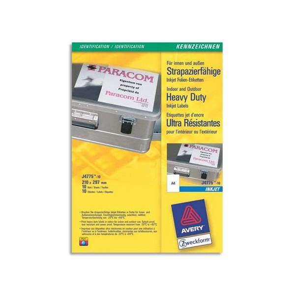 AVERY Boîte de 10 étiquettes ultra-résistantes jet d'encre format 210 x 297 mm J4775