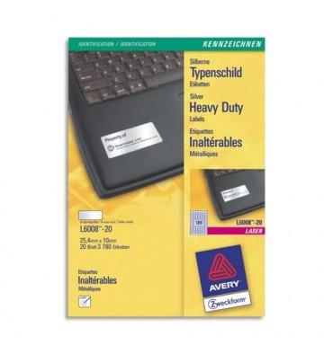 AVERY Boîte de 3780 étiquettes métalliques 25,4 x 10 mm impression laser L6008-20