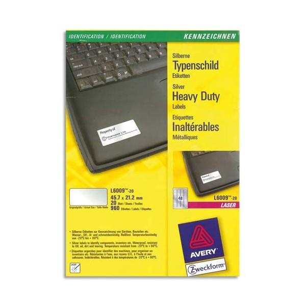 AVERY Boîte de 960 étiquettes métalliques 45,7 x 21,2 mm impression laser L6009-20