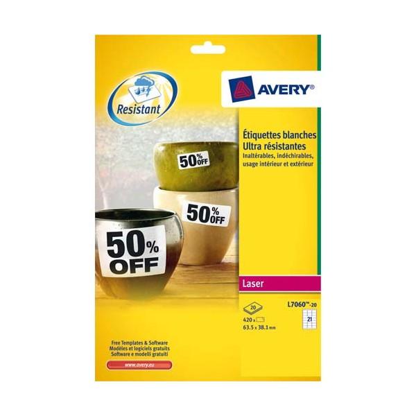 AVERY Boîte de 420 étiquettes laser inaltérables blanches 63,5 x 38,1 mm L7060-20
