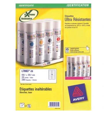 AVERY Boîte de 280 étiquettes laser inaltérables blanches 99,1 x 38,1 mm L7063-20