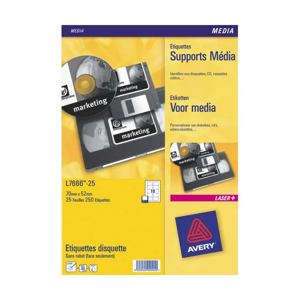AVERY Boîte de 1000 Mini étiquettes blanches 45,7 x 25,4 mm (boîte de 25) L7654-25