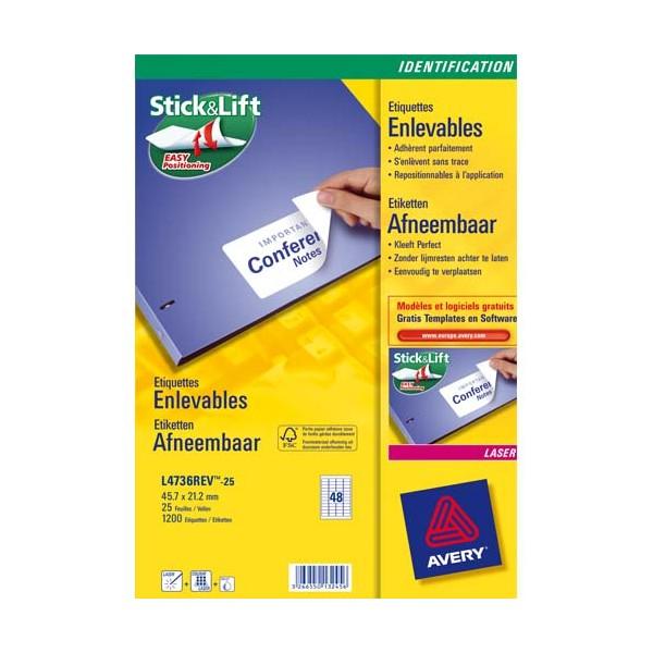 AVERY Boîte de 200 étiquettes laser enlevable 96 x 63,5 mm (boîte de 25) L4745REV-25