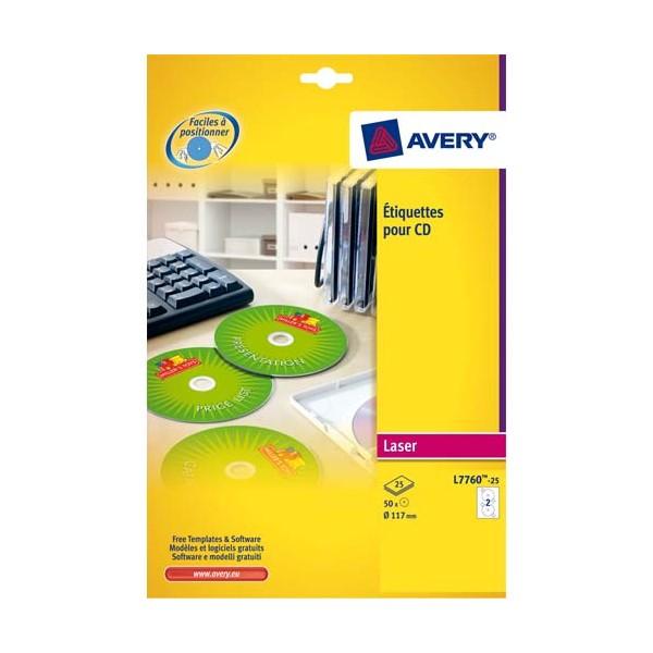 AVERY Boîte de 50 étiquettes laser couleur pour CD et DVD L7760-25