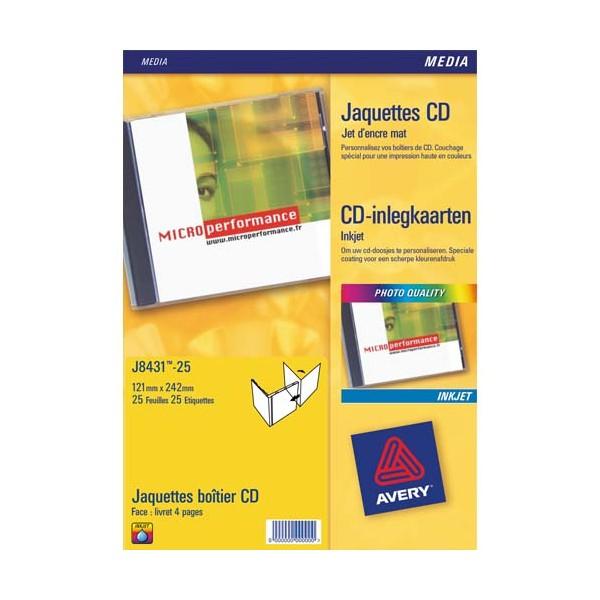 AVERY Boîte de 50 étiquettes jet d'encre monochrome pour CD et DVD J8676-25