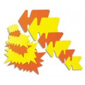 AGIPA Paquet de 25 étiquettes pour point de vente en carton fluo jaune/orange forme éclaté 16 x 24 cm
