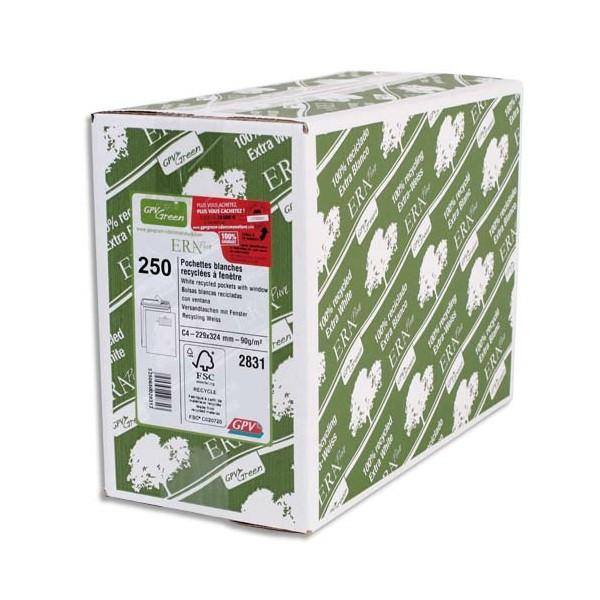 GPV Boîte de 250 pochettes recyclées extra blanches Erapure C4 229 x 324 mm fenêtre 50
