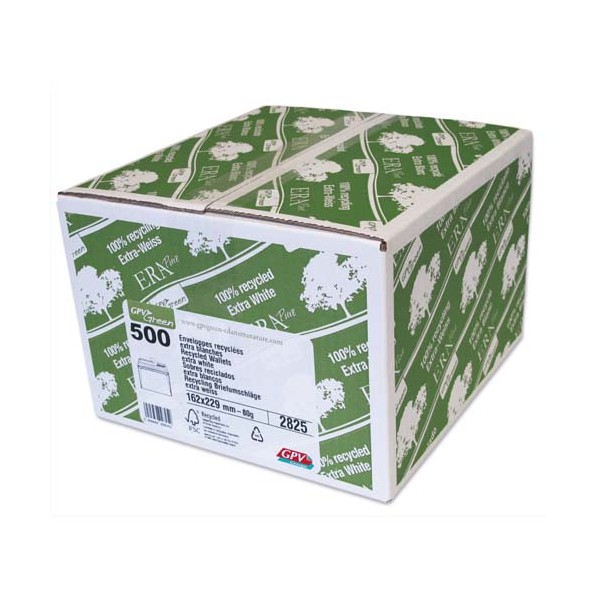 GPV Boîte de 500 enveloppes recyclées extra blanches Erapure, format C5 162 x 229 mm 80g