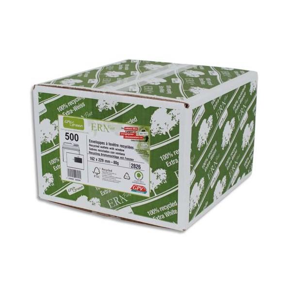 GPV Boîte 500 enveloppes recyclées extra blanches Erapure, format C5 162 x 229 mm fenêt
