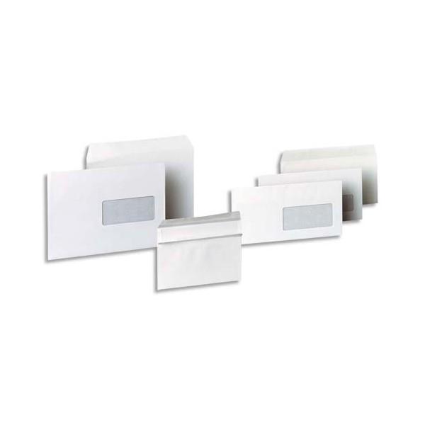 5 ETOILES Boîte de 500 enveloppes blanches autocollantes 80g format 110x220 DL fenêtre 35 x 100 mm (photo)