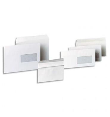 5 ETOILES Boîte de 500 enveloppes blanches autocollantes 80g format 110 x 220 mm DL fenêtre 45 x 100 mm