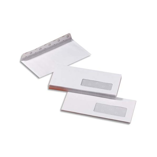 5 ETOILES Boîte de 500 enveloppes blanches auto-adhésives 80g format 110 x 220 mm DL fenêtre 45 x 100 mm (photo)