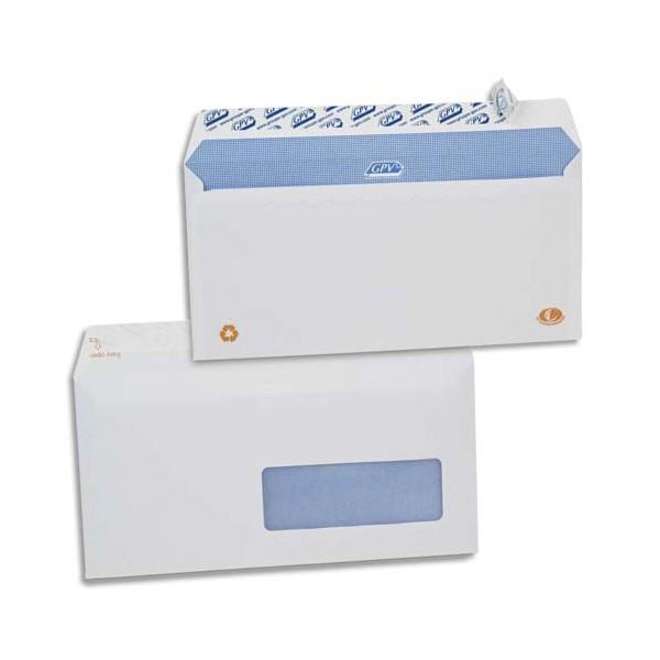GPV Boîte de 500 enveloppes DL 110 x 220 mm blanches auto-adhésives 90g fenêtre 35 x 10