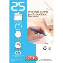 GPV Paquet de 25 enveloppes blanches auto-adhésives 90g format 114 x 162 mm C6