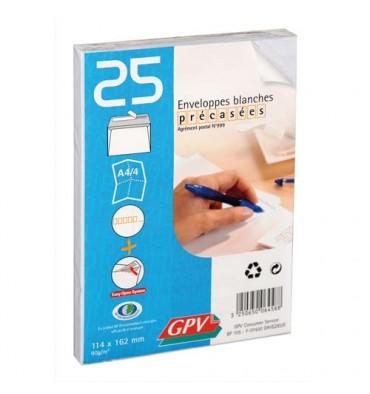 GPV Paquet de 25 enveloppes auto-adhésives 90g format 114 x 162 mm C6