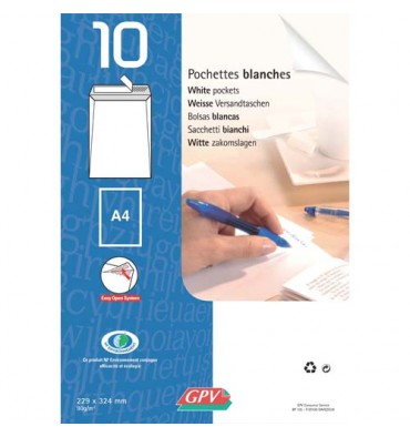 GPV Paquet de 10 enveloppes velin blanc fond gris 90g auto-adhésives 162 x 229 mm C5