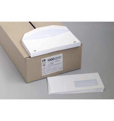 LA COURONNE Boîte de 1000 enveloppes velin blanc insertion mécanique 80g, 115 x 225 mm fenêtre 35 x 100 mm