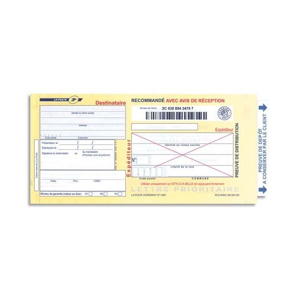 TECHMAY LOGETIQ Boîte de 250 imprimés recommandés avec AR international A4 IB1 3263