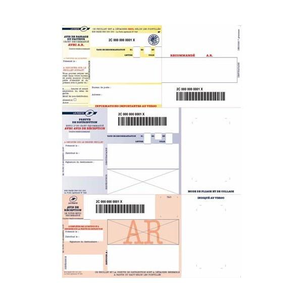 TECHMAY LOGETIQ Boîte de 1000 imprimés recommandés avec AR A4 IB1. Laser et jet d'encre