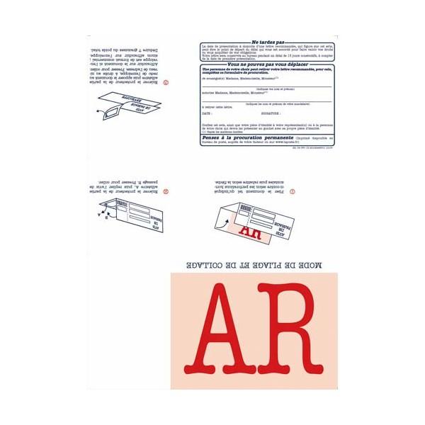 TECHMAY LOGETIQ Boîte de 150 imprimés recommandés avec AR A4 IB1. Laser et jet d'encre