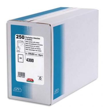 GPV Boîte de 250 pochettes auto-adhésives velin blanc 90g format 229 x 324 mm C4 fenêtre 50 x 110 mm