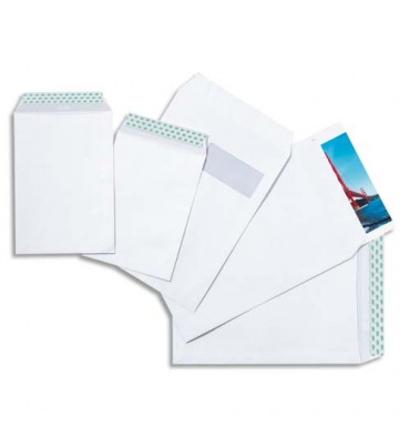 GPV Boîte de 250 pochettes auto-adhésives velin blanc 90g format 260 x 330 mm format normalisé 24